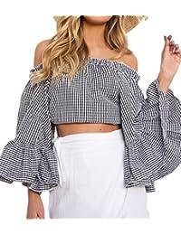 Primavera y Otoño Mujeres Corto Tops Atractivo Moda Cuello Barco Cuerno Manga Blusa Casual Enrejado Camisas