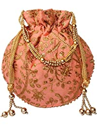 Bagaholics Ethnic Clutch Silk Potli Batwa Pouch Bag with Metal Beadwork Gift  For Women 630255a5adadb