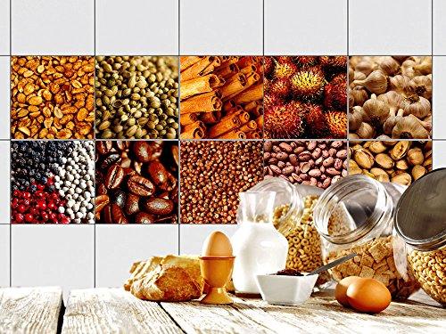 GRAZDesign 770344_10x10_FS10st Fliesen-Aufkleber Set Kaffeebohnen und Gewürze | Küchen-Fliesen mit...