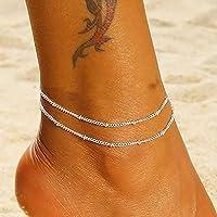Edary Beach cavigliera a doppio strato con perline semplice braccialetto alla caviglia gioielli moda piede per donne e…