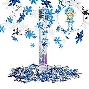 Relaxdays Lanceur de confettis flocons de neige 40 cm canon cotillons fête noël décoration nouvel an portée 6-8 m, blanc-bleu
