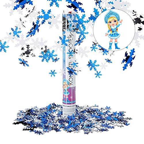 er Eiszeit 40 cm, 6-8m Effekthöhe, Schneeflocken f. Geburtstag u. Karneval, Konfettiregen, weiß-blau (Schneeflocken-party)
