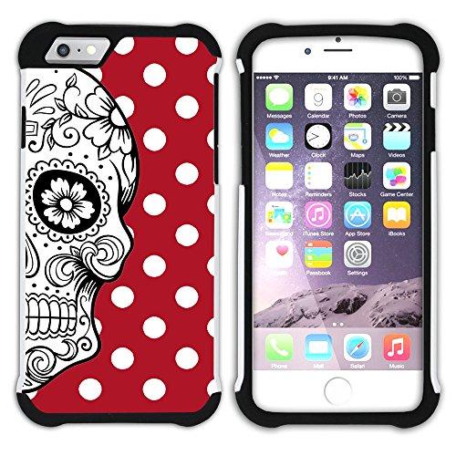 Graphic4You Mexikanische Zuckerschädel Tod Punktmuster Tupfen Muster (Wasserblau) Hart + Weiche Kratzfeste Hülle Case Schale Tasche Schutzhülle für Apple iPhone 6 Plus / 6S Plus Rot