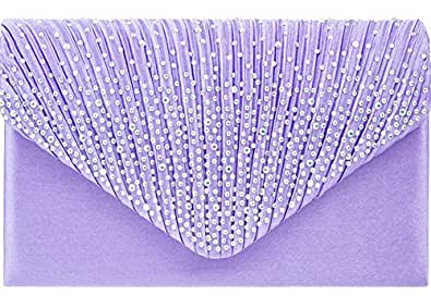 Lilac Purple Satin Evening Clutch Bag Amazon.co.uk Shoes U0026 Bags