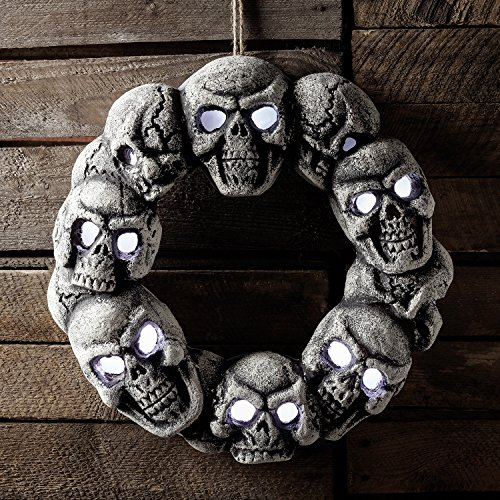 White LED Battery Operated Halloween Light Up Skull Door Wreath by Lights4fun