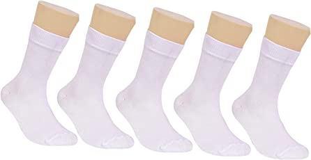 Footprints Kids ORGANIC Cotton SCHOOL Socks - Boys and Girls - Calf length- Pack of 5 (White) - Extra soft and Breathable