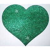 Stoff Glitzer 10,2cm Herz grün Bügelbild Craft Dance