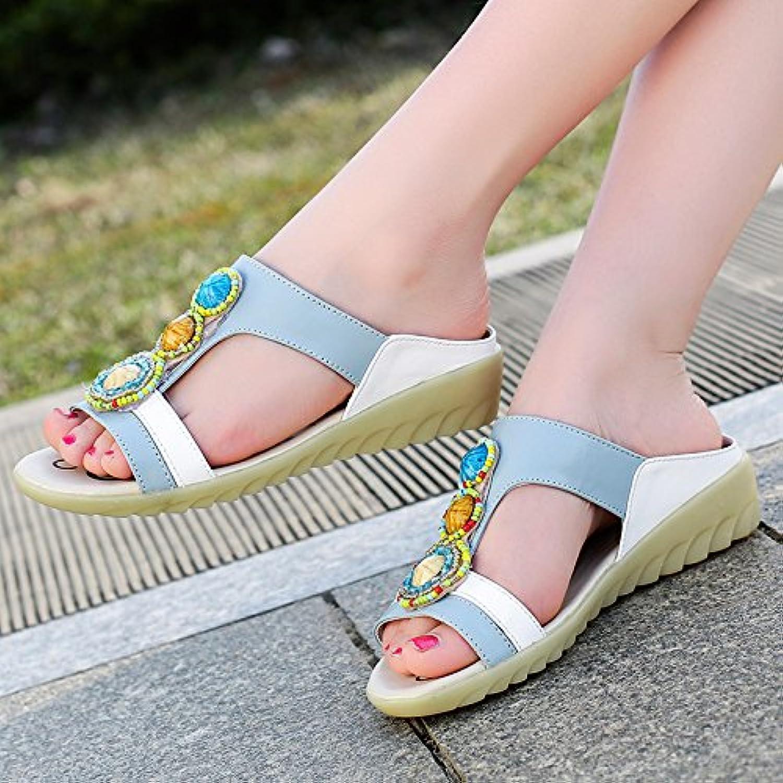 OME&QIUMEI Zapatillas En Verano Inferior Suave Y Cómodo Con Sandalias Y Sandalias 35 Azul
