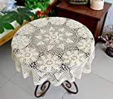 gracebuy 160 cm Handarbeit handgefertigt Häkel rund Baumwolle Spitze Deckchen Tischdecke beige G02