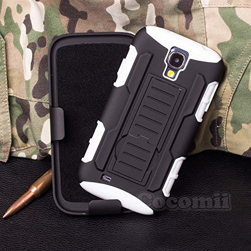 Galaxy S4 Mini Hülle, Cocomii Robot Armor NEW [Heavy Duty] Premium Belt Clip Holster Kickstand Shockproof Hard Bumper Shell [Military Defender] Full Body Dual Layer Rugged Cover Case Schutzhülle Samsung I9190 I9195 (White)