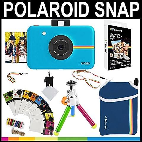Polaroid - Fotocamera istantanea Snap (Blu) + 20 fogli di carta zincata 2x3 + custodia in neoprene + cornici fotografiche + pacchetto accessori - 3x3 Cornice