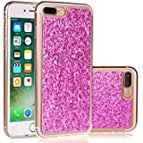 purpurina Carcasa para iPhone 7 Plus, Cover para iPhone 7 Plus Bling Carcasa, leeook Plata Elegante Noble Lujo Shining Sparkle Crystal ultrafina tpu Soft Gel Case Bumper Suave Funda De Silicona Silicone parte trasera carcasa funda Cover ultraligera funda Light Funda Case Cover Para Apple iPhone 7 Plus (5.5 pulgadas) + 1 x Negro Lápiz de Silver