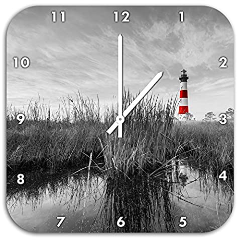 Bodie Iceland Lighthouse in North Carolina black / white, wall clock diameter 48cm with white pointed the hands and face, decoration items, Designuhr, aluminum composite very nice for living room,