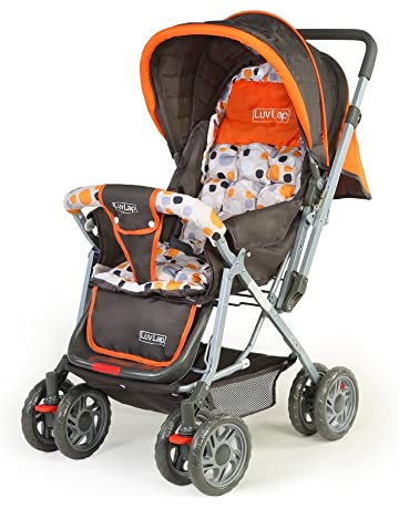 LuvLap Sunshine Stroller/Pram, with Mosquito net, for Newborn Baby/Kids, 0-3 Years (Orange)