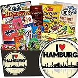 I ❤️ Hamburg | Schokoladen Set | Geschenkideen | I ❤️ Hamburg | Schokolade Set | Geschenk Papa Hamburg | mit Puffreis Tafel, Mokka Bohnen, Halloren und mehr | GRATIS DDR Kochbuch