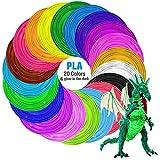 Filamenti Penna 3D, Tecboss PLA Filamento 1.75mm, 20 Colore Materiali 3D Filamenti per la Stampa 3D Hobby Creativi, Niente Bolle D'aria, Insapore