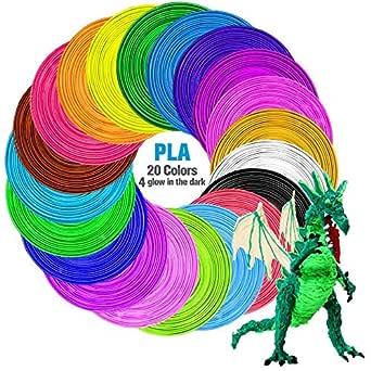 Filament d'impression 3D, TECBOSS 20 paquets de recharges de filament pour stylo 3D PLA, sans odeur et filament facile à décoller pour imprimante 3D, longueur 100 m, sans bulles, 1,75 mm, coloré