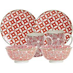 Ritzenhoff & Breker Brunch-und Frühstücksgeschirrset Makina, 6-Teilig, Rot Vajilla, Porcelana, Rojo, 36 x 16 x 27 cm, 6 Unidades