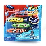 Newin Star 4pcs Multicolor piscina Buceo Torpedo plástico Summer Beach Dive Toys