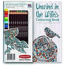 Derwent Unwind in the Wilds - Libro y set de 10 lápices para colorear