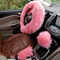 Coprivolante Set ezykoo Rosa Completamente lana morbida Auto Volante, con