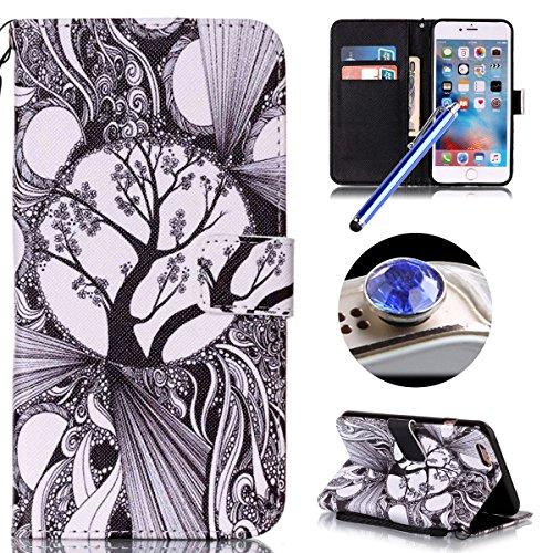 Etsue Handytasche für iPhone SE/iPhone 5S lila, Brieftasche Hülle für iPhone SE/iPhone 5S [Mädchen Schmetterling] Muster Lederhülle Handyhülle Einzigartig Flip Hülle Leder Schutzhülle Vintage Wallet C Zeichnung Baum