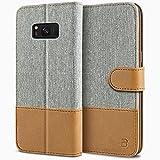 Coque SamsungS8, BEZ Etui GalaxyS8 en Cuir Textile Flip Case Portefeuille, Housse à Rabat avec Porte-Cartes de Crédit, Fermeture Magnétique pour SamsungGalaxyS8 - Gris