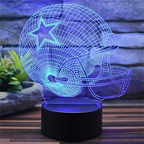 licht Dallas Cowboys American Football Hat Kreative 3D Stereovision Nachtlichter Kinder Schlafzimmer Schreibtisch Lichter Fernbedienung 16 Farbwechsel Acryl LED Tischlampen Home De ()