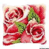 Vervaco Rosenblüte Knüpfkissen mit Knüpfhaken