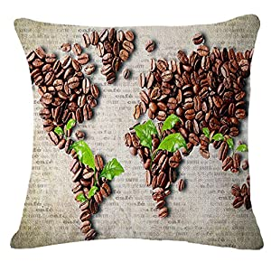 TREESTAR 1 funda de almohada cuadrada para sofá o almohada, 45 x 45 cm, diseño de mapa del mundo del café