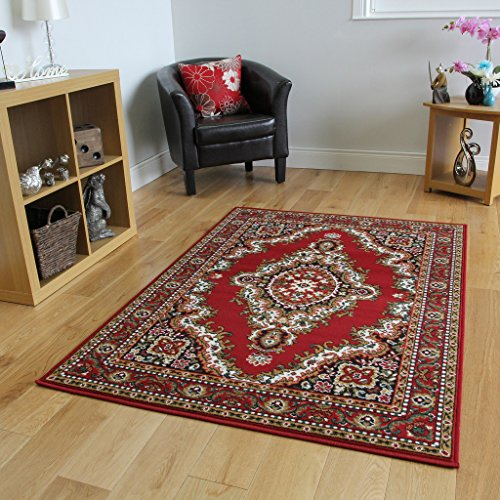 "The Rug House Alfombra Tradicional de Medallón Roja 63cm x 110cm (2 pies 1"" x 3 pies 7"")"
