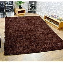 Lujo Super Suave 5cm Pelo Largo Shaggy nórdico marrón alfombra disponible en varios tamaños, polipropileno, marrón, 60x110cm