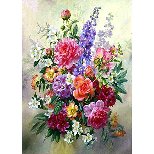 5D DIY Diamond Painting by Numbers Kits, Crystal Embroidery Cross Stitch Rhinestone Mosaic Drawing Art Craft Home Wall Decor, Color Flowers
