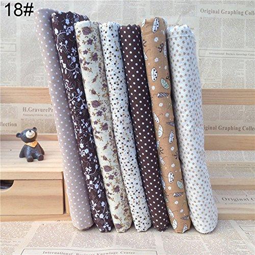 sundatebe 7Tressen/Set Floral Quilting Baumwolle Stoff DIY Craft Nähen handgefertigt Zubehör Einheitsgröße 18#