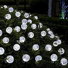 GreenClick 40 luces solares de la secuencia del LED se refresca la bola de cristal blanca, hada del globo luces estrelladas de interior y al aire libre para el hogar de la boda del jardín