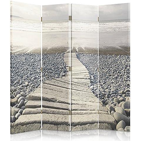 Feeby Frames Biombo impreso sobre lona, tabique decorativo para habitaciones, a una cara, de 4 piezas (145x150 cm), CAMINO, PLAYA BEIGE GRIS