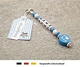 NAMENSANHÄNGER - Anhänger mit Namen  Baby Kinder Schlüsselanhänger für Wickeltasche, Kindergartentasche, Schultasche oder Rucksack mit Schlüsselring  Jungen Motiv i love dad / mom in blau