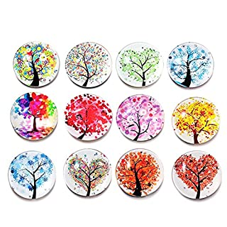 Glass Refrigerator Magnets,12 PCS/ Set Beautiful Fridge stickers Funny Abstract Tree Refrigerator Magnets Life Tree Landscape Tree Rhinestone Crystal Glasses Stickers