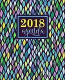 Agenda: 2018 Agenda semana vista español : 190 x 235 mm, 160 g/m² : Estampado de sirena en amarillo, azul, verde y lavanda: Volume 5 (Calendarios, agendas y organizadores personales)