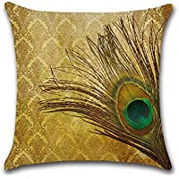 Decorativa almohada multicolor pavo real plumas de pavo real impresión Impreso Sofá Decoración Cojín Caso agarre Bar Funda de almohada cojín de móvil Salón Braune Feder