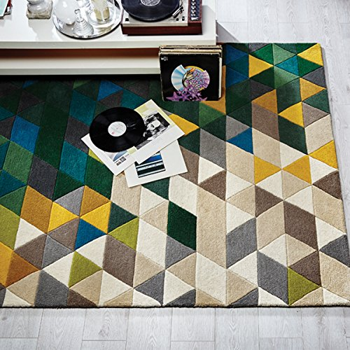 Flair Rugs Teppich Illusion Prism 100% Wolle Handgetuftet Teppich, Wolle, Green/Multi, 120 x 170 cm - Prism Multi Teppich