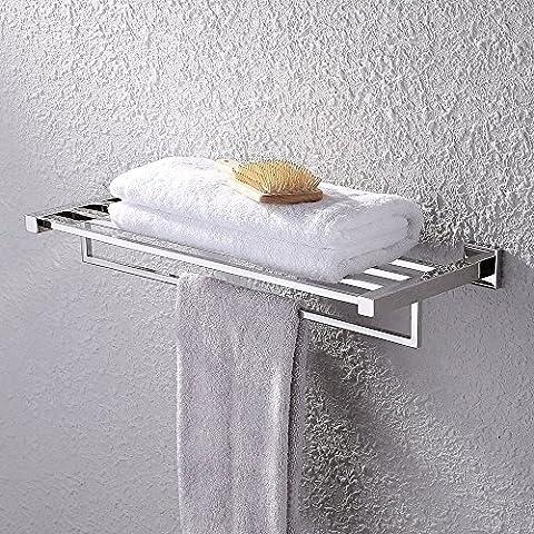 KES SUS 304 Rostfreier Edelstahl Bad Regale Handtuchhalter mit Lagerung, hängenden Organizer 24-Zoll Modern Hotel Square Style Wandhalterung, Polierte, (Nickel Poliert Kabinett Hardware)