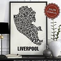 Liverpool Buchstabenort Schwarz auf Naturweiß