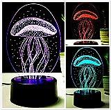3D-Acryl Tischleuchte, kreative USB-Ladekabel Nachtlicht LED Touch Schalter 7 Farbe optische Symphony Leuchten Schlafzimmer Nachttisch Tischlampe, Tag der Kinder Geschenk