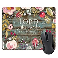 Muccum Custom Rectangle Mouse Pad Bible Verses Scripture Quotes Psalm 23, The Lord is My Shepherd I Have Everything I Need Quote Mousepad Vintage Floral Retro Old Wood Mat