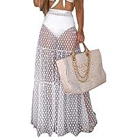 Gonna Bikini Ricamata a Punto Rotondo per Donna Costumi da Bagno Trasparenti Gonna Lunga da Spiaggia Allentata per…
