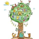 WandSticker4U®- Aquarel Muursticker DSCHUNGEL BAUM Kinderkamer I Muurafbeeldingen: 120x65 cm I Wanddecoratie Muursticker Baby