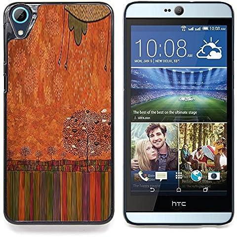 For HTC Desire 826 Case , Pastello a olio Albero arte disegno - Design Pattern Duro Staccabile Stile Telefono Cellulare Nuovo Caso Cover Guscio Duro