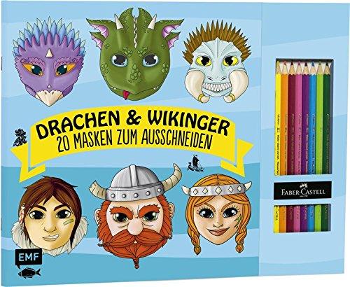 Drachen & Wikinger – 20 Masken zum Ausmalen und Ausschneiden: Mit 8 original...