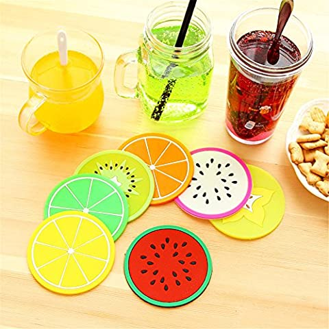 Silicone Round Drinks Coaster for Coffee Tea Set of 7 ,Fruit Images Novelty Table Mats and Coaster Feet Sets Placemat for Furniture